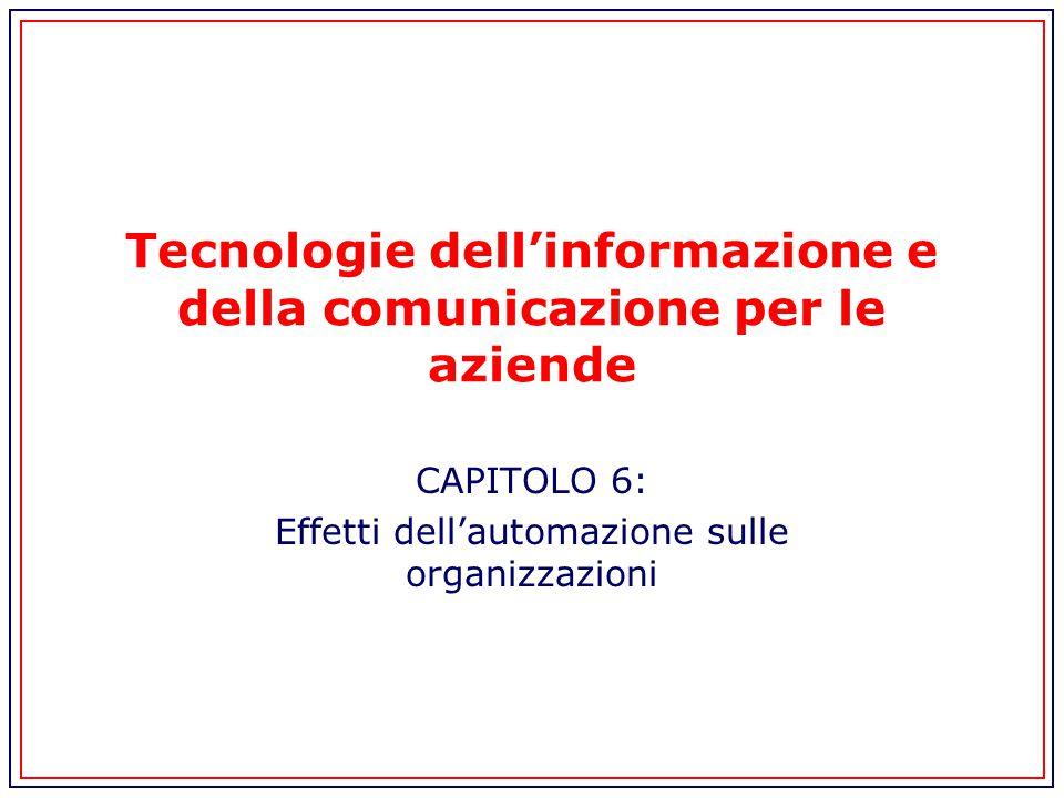 Tecnologie dell'informazione e della comunicazione per le aziende CAPITOLO 6: Effetti dell'automazione sulle organizzazioni