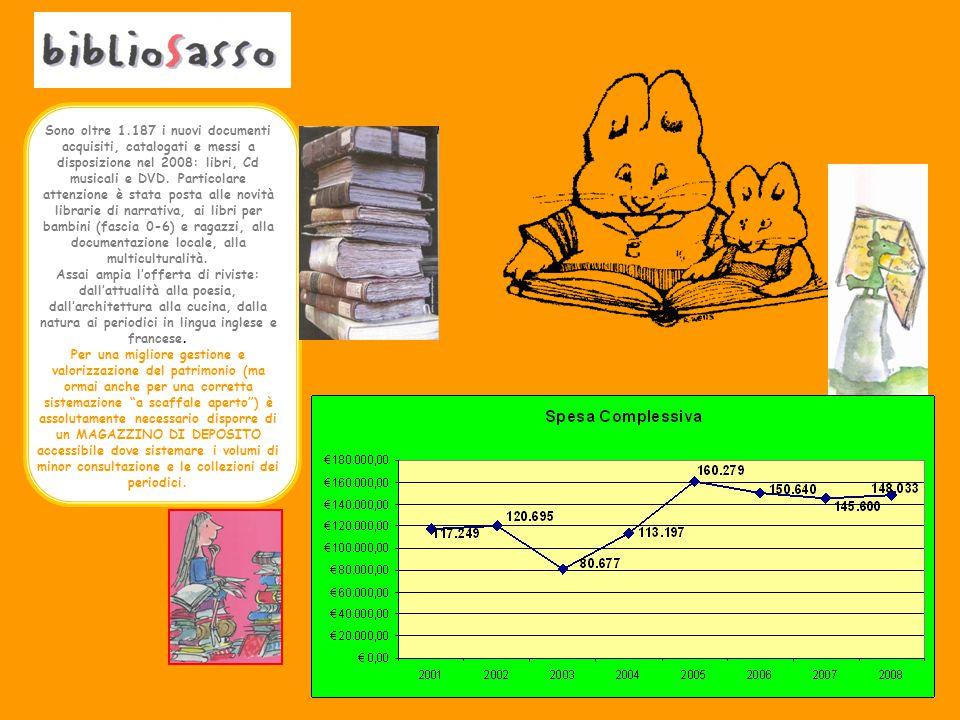 Sono oltre 1.187 i nuovi documenti acquisiti, catalogati e messi a disposizione nel 2008: libri, Cd musicali e DVD.