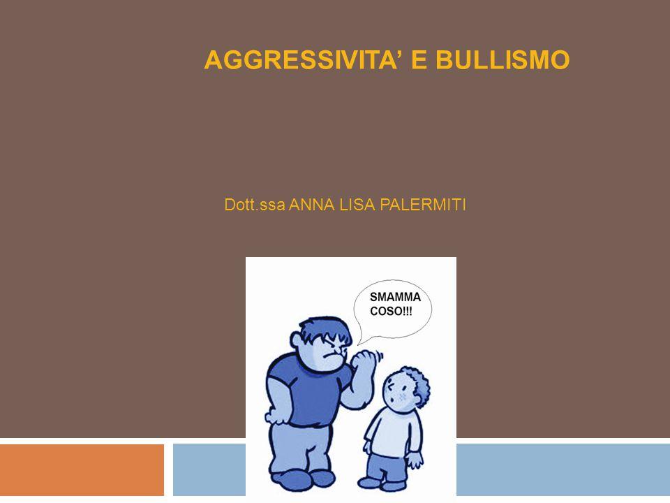 AGGRESSIVITA' E BULLISMO Dott.ssa ANNA LISA PALERMITI Università della Calabria