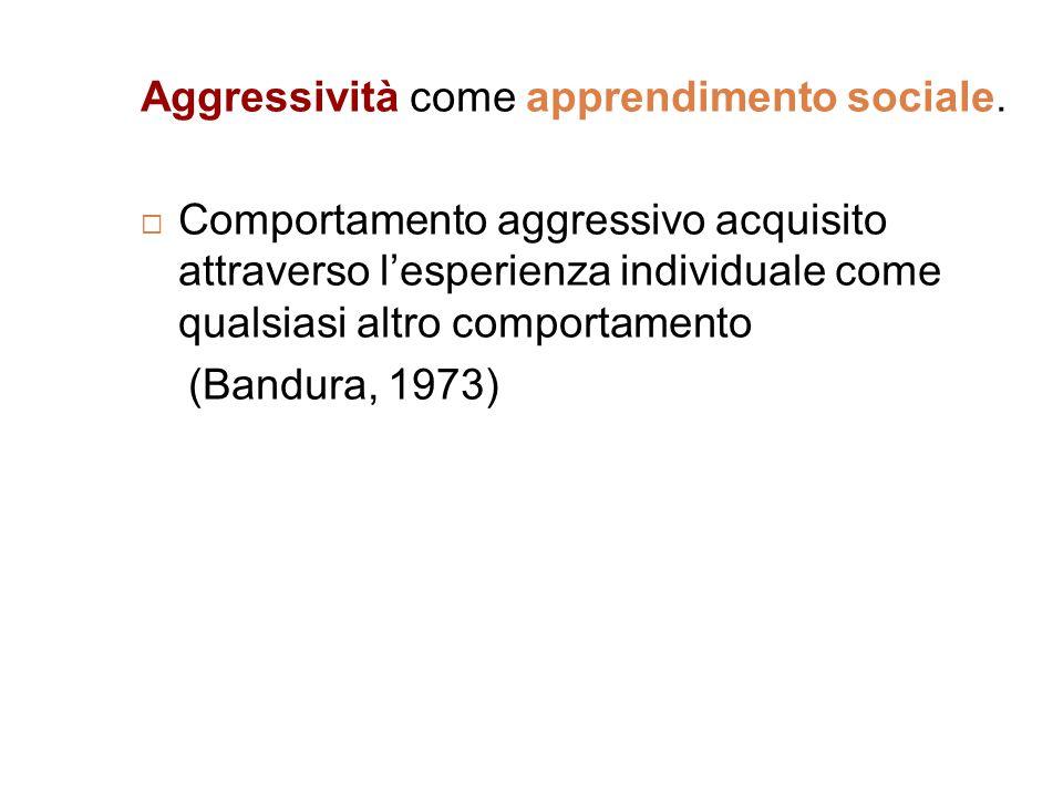 Aggressività come apprendimento sociale.  Comportamento aggressivo acquisito attraverso l'esperienza individuale come qualsiasi altro comportamento (