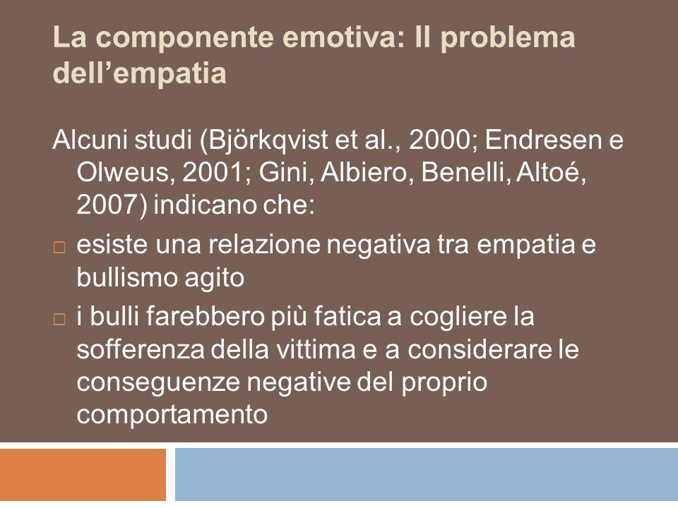 La componente emotiva: Il problema dell'empatia Alcuni studi (Björkqvist et al., 2000; Endresen e Olweus, 2001; Gini, Albiero, Benelli, Altoé, 2007) i