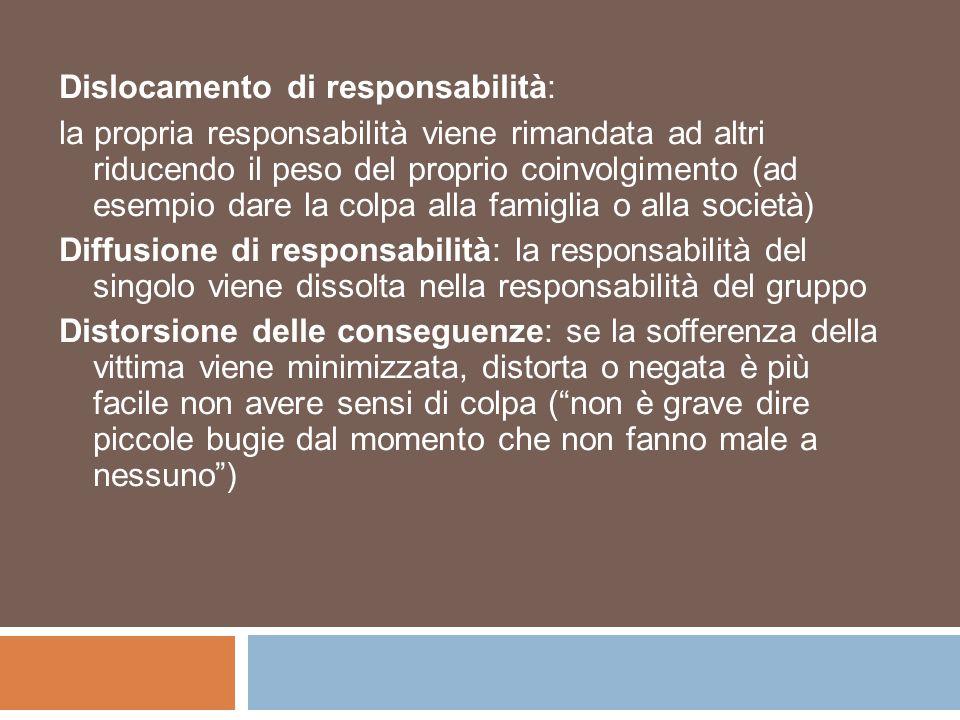 Dislocamento di responsabilità: la propria responsabilità viene rimandata ad altri riducendo il peso del proprio coinvolgimento (ad esempio dare la co