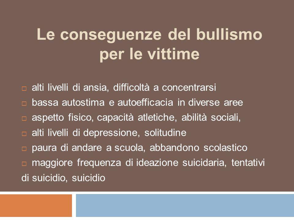 Le conseguenze del bullismo per le vittime  alti livelli di ansia, difficoltà a concentrarsi  bassa autostima e autoefficacia in diverse aree  aspe
