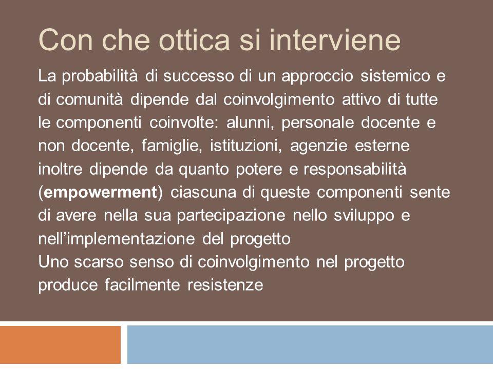Con che ottica si interviene La probabilità di successo di un approccio sistemico e di comunità dipende dal coinvolgimento attivo di tutte le componen