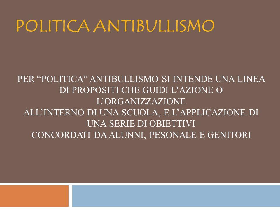 """POLITICA ANTIBULLISMO PER """"POLITICA"""" ANTIBULLISMO SI INTENDE UNA LINEA DI PROPOSITI CHE GUIDI L'AZIONE O L'ORGANIZZAZIONE ALL'INTERNO DI UNA SCUOLA, E"""