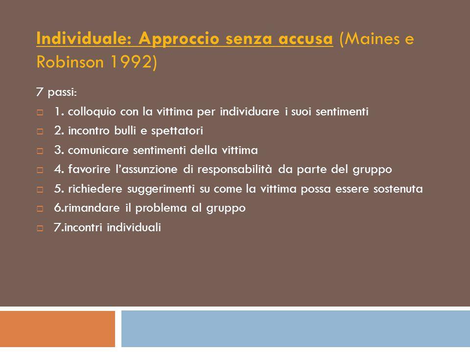 Individuale: Approccio senza accusa (Maines e Robinson 1992) 7 passi:  1. colloquio con la vittima per individuare i suoi sentimenti  2. incontro bu
