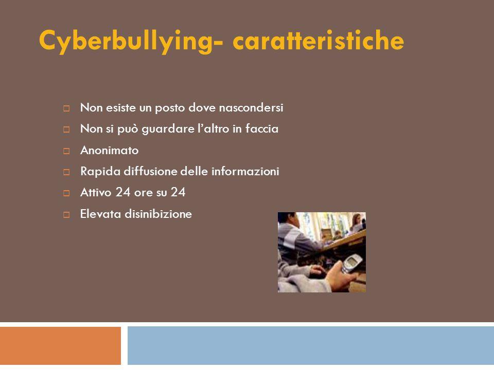 Cyberbullying- caratteristiche  Non esiste un posto dove nascondersi  Non si può guardare l'altro in faccia  Anonimato  Rapida diffusione delle in