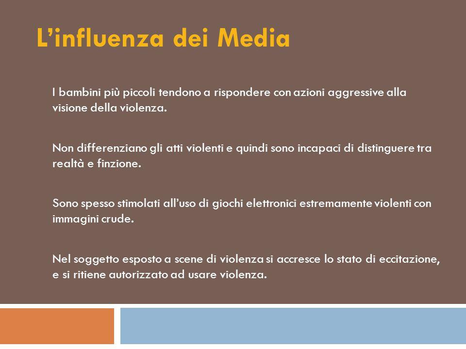 L'influenza dei Media I bambini più piccoli tendono a rispondere con azioni aggressive alla visione della violenza. Non differenziano gli atti violent