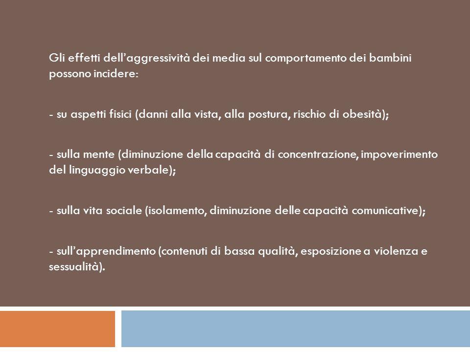 Gli effetti dell'aggressività dei media sul comportamento dei bambini possono incidere: - su aspetti fisici (danni alla vista, alla postura, rischio d
