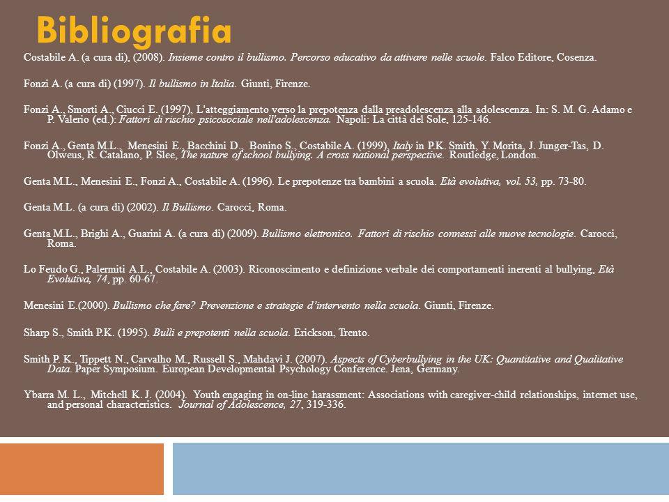 Bibliografia Costabile A. (a cura di), (2008). Insieme contro il bullismo. Percorso educativo da attivare nelle scuole. Falco Editore, Cosenza. Fonzi