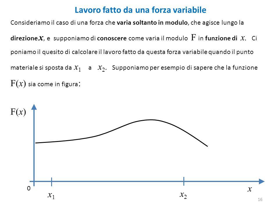 Lavoro fatto da una forza variabile Consideriamo il caso di una forza che varia soltanto in modulo, che agisce lungo la direzione x, e supponiamo di conoscere come varia il modulo F in funzione di x.