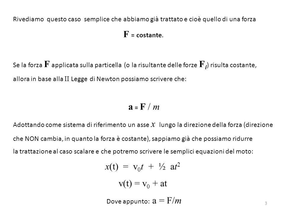 x x(t) t Il problema è un po' più complicato quando la forza agente sulla particella non è costante, e si configura per esempio un moto del genere: x x(t) t x(t) = v 0 t + ½ at 2 4