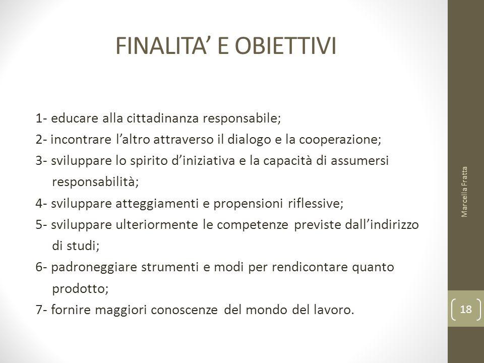 FINALITA' E OBIETTIVI 1- educare alla cittadinanza responsabile; 2- incontrare l'altro attraverso il dialogo e la cooperazione; 3- sviluppare lo spiri