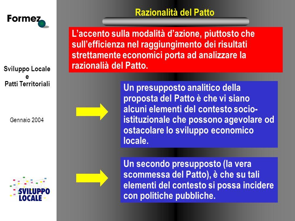 Sviluppo Locale e Patti Territoriali Gennaio 2004 Razionalità del Patto L'accento sulla modalità d'azione, piuttosto che sull'efficienza nel raggiungimento dei risultati strettamente economici porta ad analizzare la razionalià del Patto.
