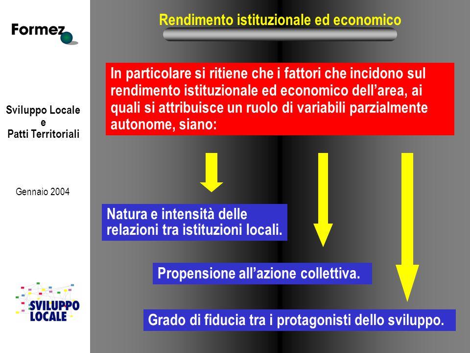 Sviluppo Locale e Patti Territoriali Gennaio 2004 Rendimento istituzionale ed economico In particolare si ritiene che i fattori che incidono sul rendi