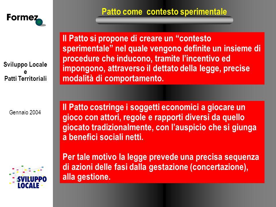 """Sviluppo Locale e Patti Territoriali Gennaio 2004 Patto come contesto sperimentale Il Patto si propone di creare un """"contesto sperimentale"""" nel quale"""