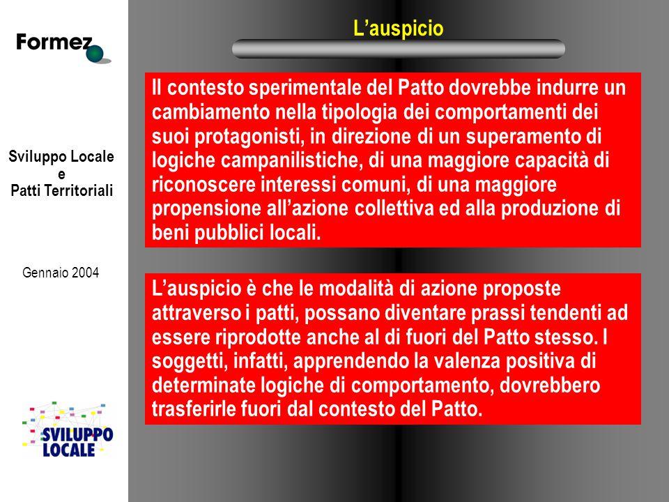 Sviluppo Locale e Patti Territoriali Gennaio 2004 L'auspicio Il contesto sperimentale del Patto dovrebbe indurre un cambiamento nella tipologia dei co