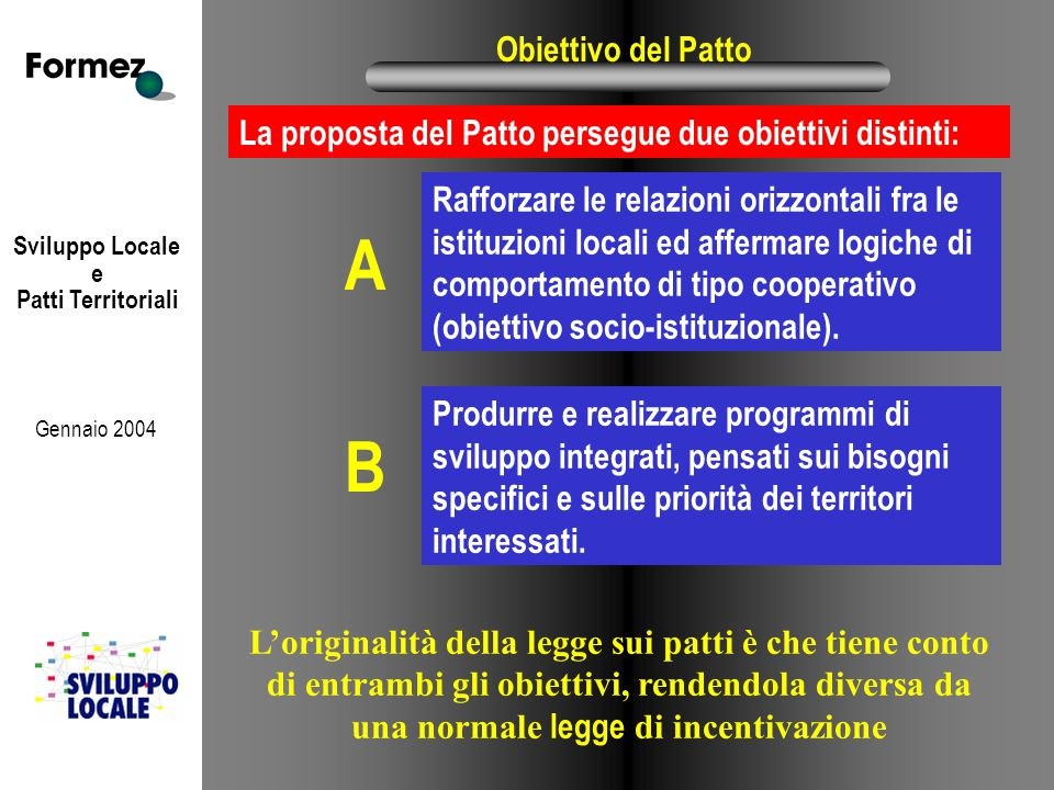 Sviluppo Locale e Patti Territoriali Gennaio 2004 Obiettivo del Patto Produrre e realizzare programmi di sviluppo integrati, pensati sui bisogni specifici e sulle priorità dei territori interessati.