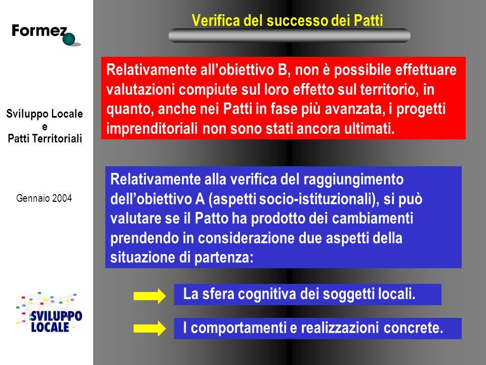 Sviluppo Locale e Patti Territoriali Gennaio 2004 Verifica del successo dei Patti Relativamente all'obiettivo B, non è possibile effettuare valutazioni compiute sul loro effetto sul territorio, in quanto, anche nei Patti in fase più avanzata, i progetti imprenditoriali non sono stati ancora ultimati.