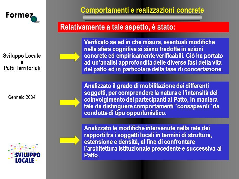 Sviluppo Locale e Patti Territoriali Gennaio 2004 Comportamenti e realizzazioni concrete Relativamente a tale aspetto, è stato: Analizzato le modifich
