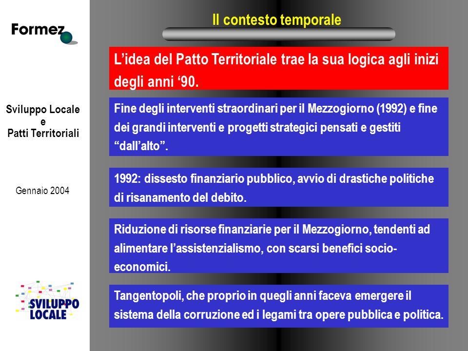 Sviluppo Locale e Patti Territoriali Gennaio 2004 Il contesto temporale Fine degli interventi straordinari per il Mezzogiorno (1992) e fine dei grandi interventi e progetti strategici pensati e gestiti dall'alto .