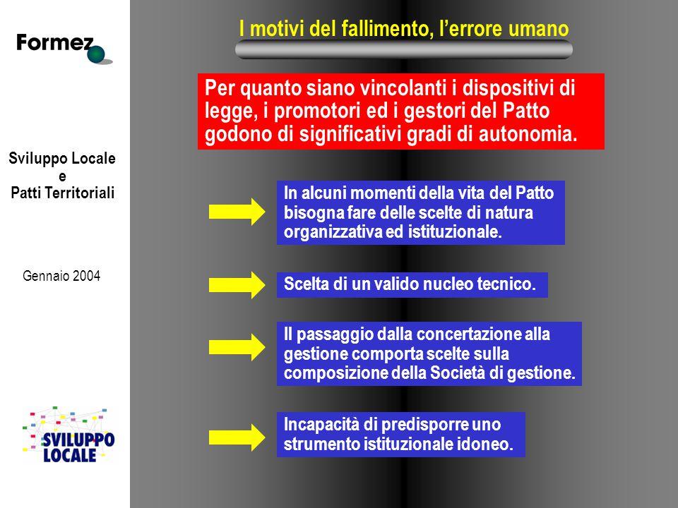 Sviluppo Locale e Patti Territoriali Gennaio 2004 I motivi del fallimento, l'errore umano Per quanto siano vincolanti i dispositivi di legge, i promot