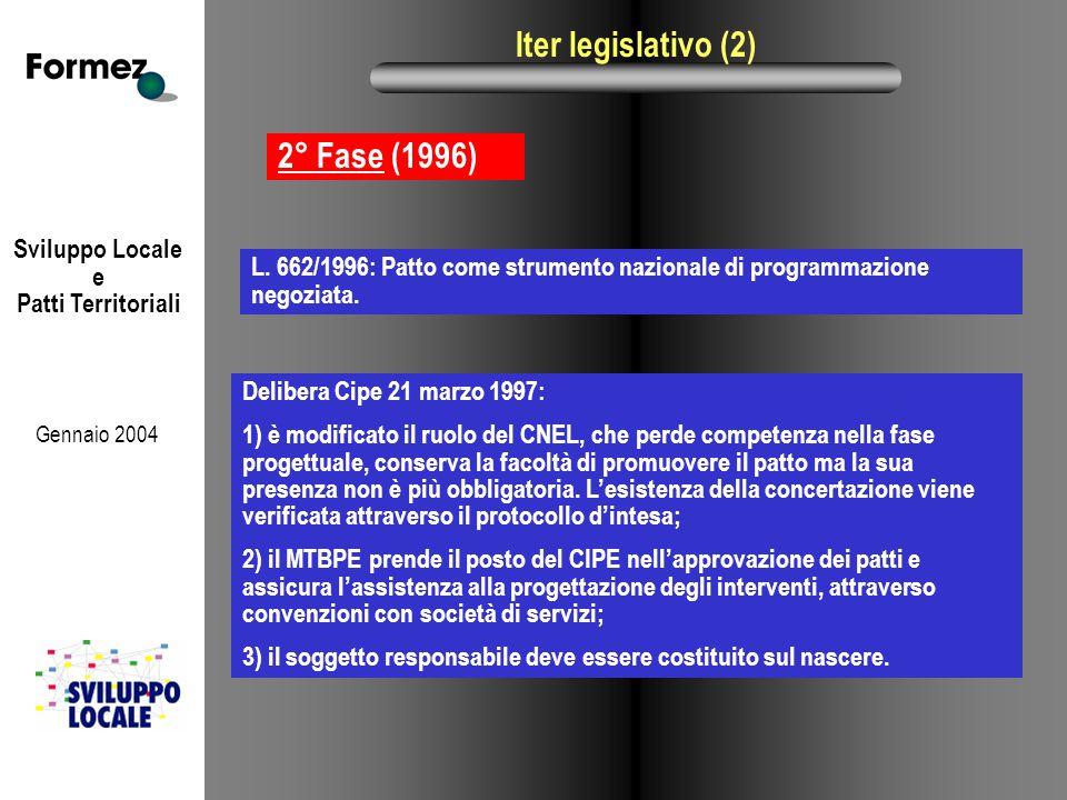 Sviluppo Locale e Patti Territoriali Gennaio 2004 Iter legislativo (2) 2° Fase (1996) Delibera Cipe 21 marzo 1997: 1) è modificato il ruolo del CNEL, che perde competenza nella fase progettuale, conserva la facoltà di promuovere il patto ma la sua presenza non è più obbligatoria.