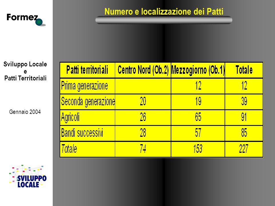 Sviluppo Locale e Patti Territoriali Gennaio 2004 Numero e localizzazione dei Patti