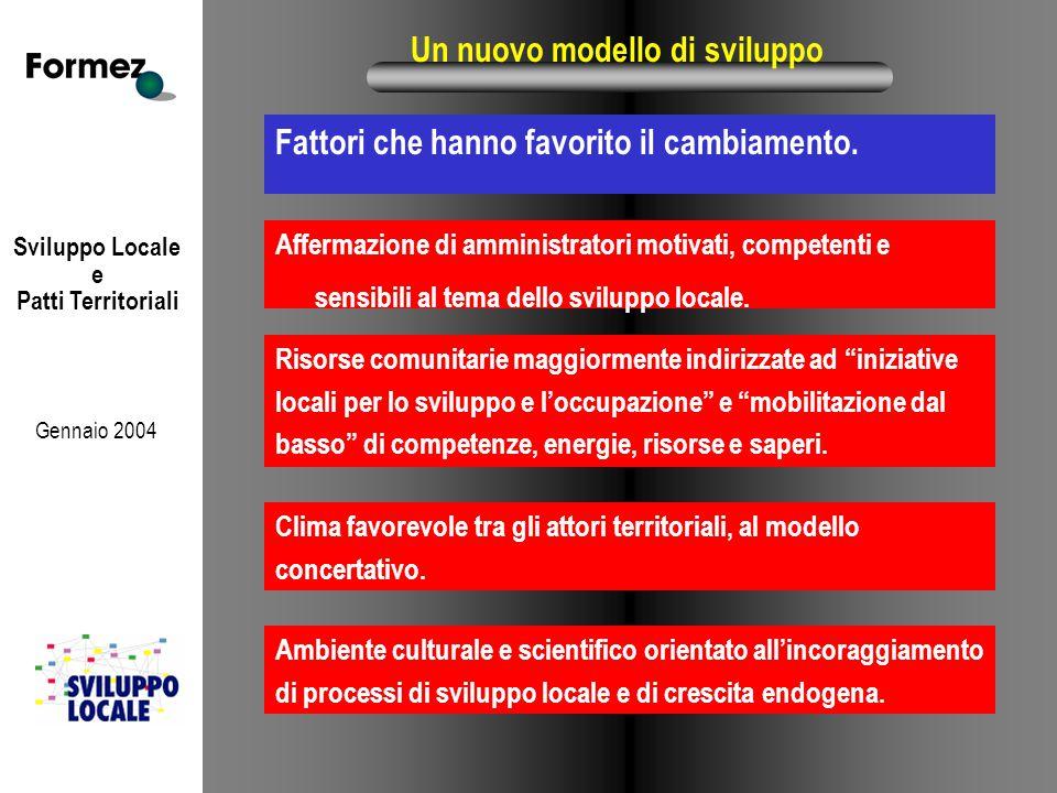 Sviluppo Locale e Patti Territoriali Gennaio 2004 Un nuovo modello di sviluppo Fattori che hanno favorito il cambiamento. Affermazione di amministrato