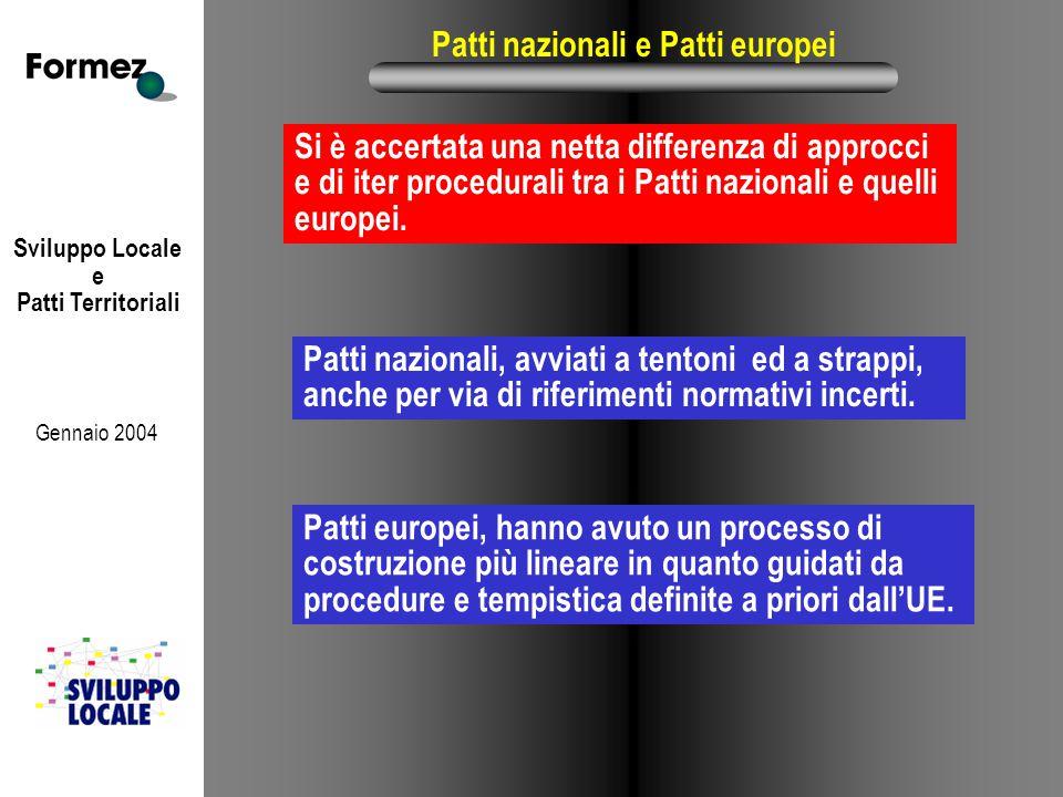 Sviluppo Locale e Patti Territoriali Gennaio 2004 Patti nazionali e Patti europei Si è accertata una netta differenza di approcci e di iter procedurali tra i Patti nazionali e quelli europei.