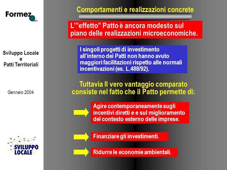 Sviluppo Locale e Patti Territoriali Gennaio 2004 Comportamenti e realizzazioni concrete I singoli progetti di investimento all'interno dei Patti non hanno avuto maggiori facilitazioni rispetto alle normali incentivazioni (es.