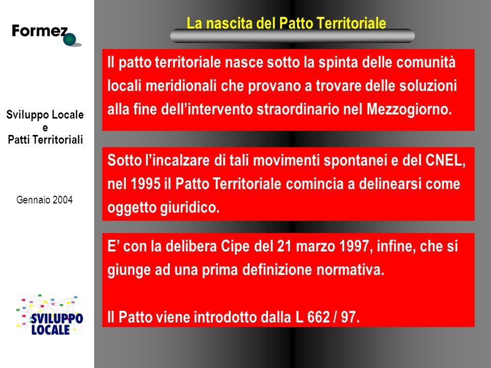 Sviluppo Locale e Patti Territoriali Gennaio 2004 La nascita del Patto Territoriale Il patto territoriale nasce sotto la spinta delle comunità locali meridionali che provano a trovare delle soluzioni alla fine dell'intervento straordinario nel Mezzogiorno.