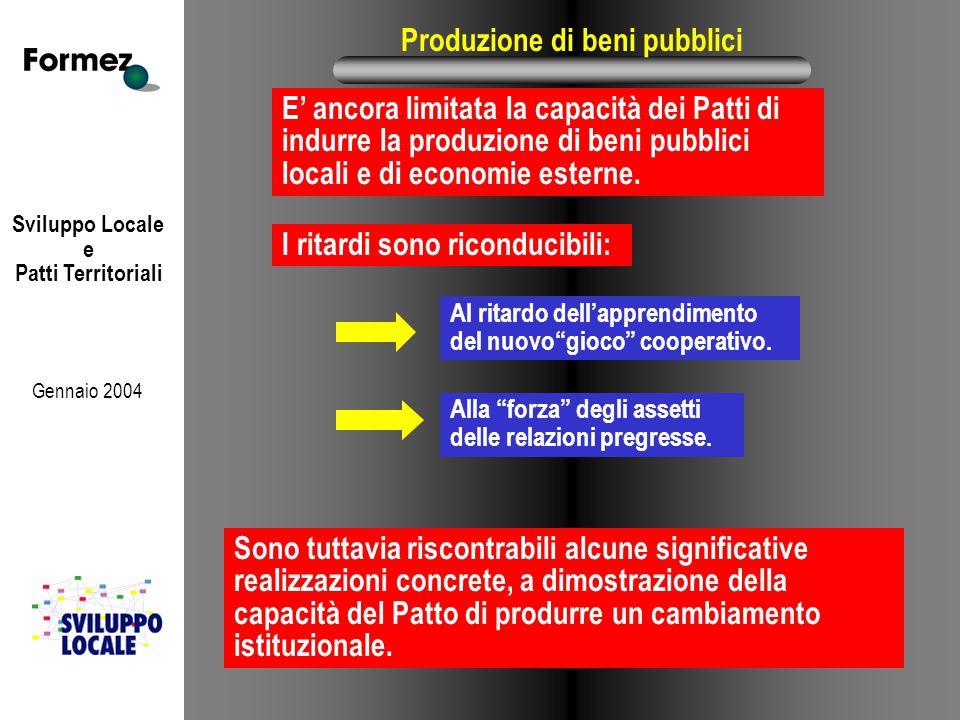 Sviluppo Locale e Patti Territoriali Gennaio 2004 Produzione di beni pubblici E' ancora limitata la capacità dei Patti di indurre la produzione di beni pubblici locali e di economie esterne.