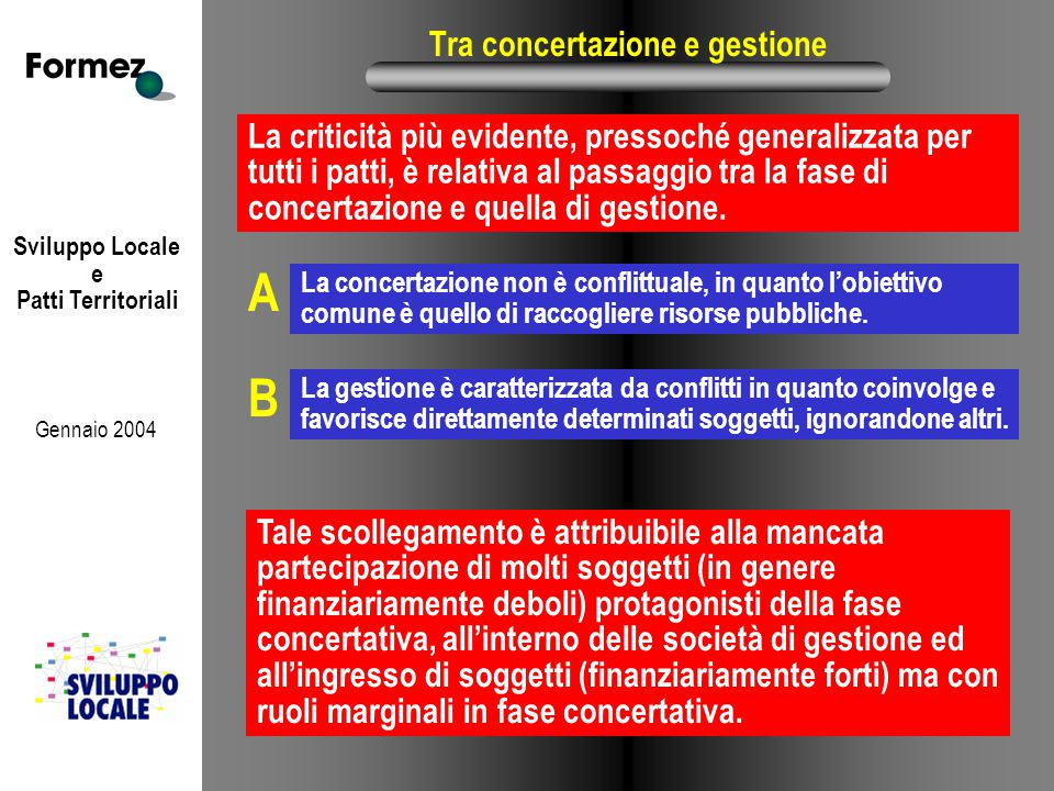 Sviluppo Locale e Patti Territoriali Gennaio 2004 Tra concertazione e gestione La criticità più evidente, pressoché generalizzata per tutti i patti, è relativa al passaggio tra la fase di concertazione e quella di gestione.