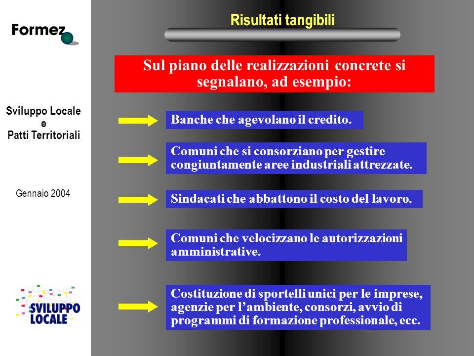 Sviluppo Locale e Patti Territoriali Gennaio 2004 Risultati tangibili Sul piano delle realizzazioni concrete si segnalano, ad esempio: Banche che agev