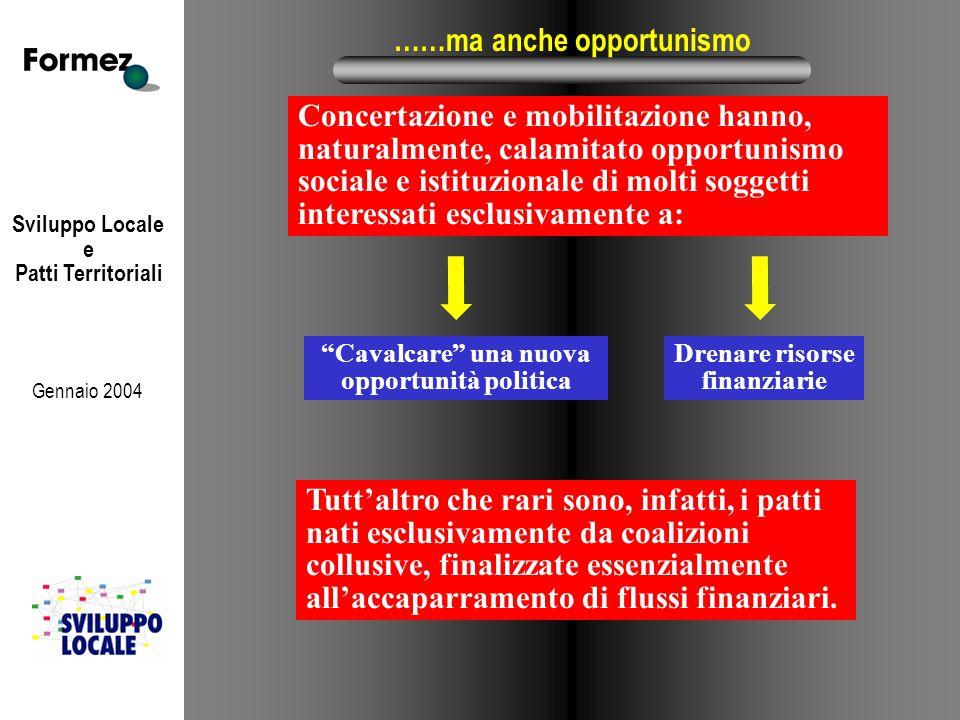 Sviluppo Locale e Patti Territoriali Gennaio 2004 ……ma anche opportunismo Concertazione e mobilitazione hanno, naturalmente, calamitato opportunismo s