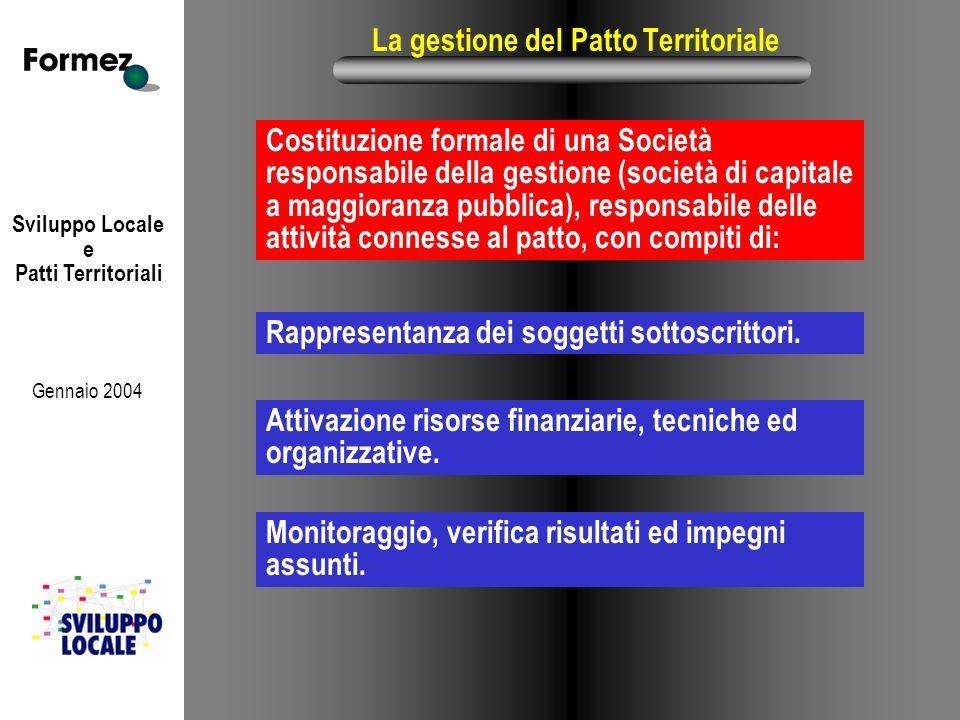 Sviluppo Locale e Patti Territoriali Gennaio 2004 La gestione del Patto Territoriale Costituzione formale di una Società responsabile della gestione (