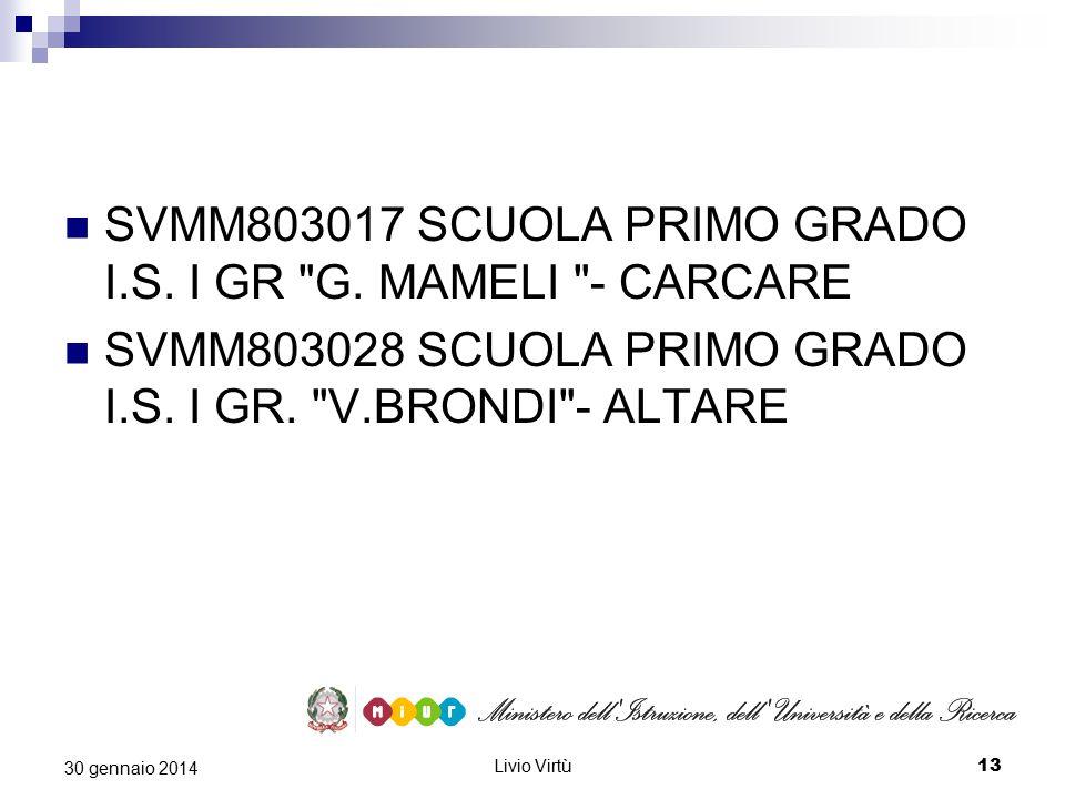 Livio Virtù 13 30 gennaio 2014 SVMM803017 SCUOLA PRIMO GRADO I.S.