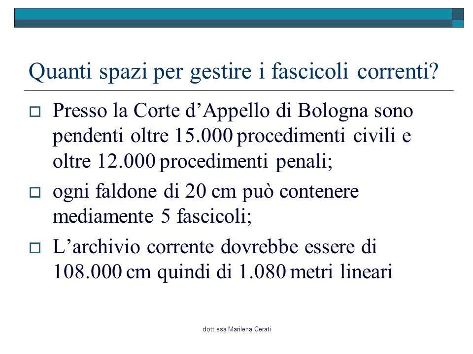 dott.ssa Marilena Cerati Quanti spazi per gestire i fascicoli correnti?  Presso la Corte d'Appello di Bologna sono pendenti oltre 15.000 procedimenti
