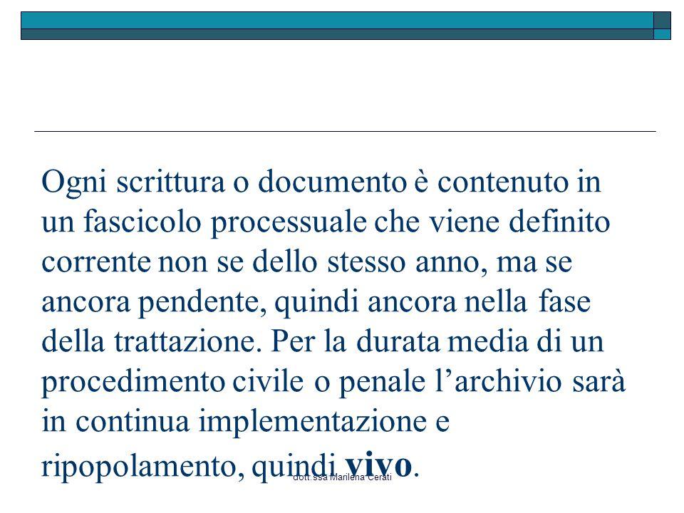 dott.ssa Marilena Cerati Ogni scrittura o documento è contenuto in un fascicolo processuale che viene definito corrente non se dello stesso anno, ma se ancora pendente, quindi ancora nella fase della trattazione.