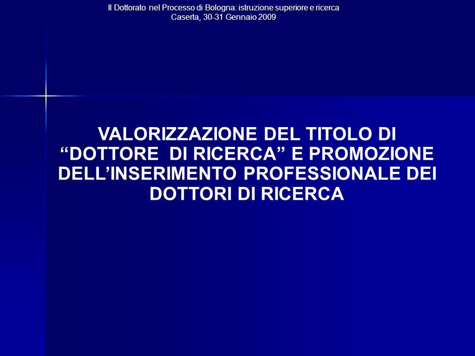 Il Dottorato nel Processo di Bologna: istruzione superiore e ricerca Caserta, 30-31 Gennaio 2009 VALORIZZAZIONE DEL TITOLO DI DOTTORE DI RICERCA E PROMOZIONE DELL'INSERIMENTO PROFESSIONALE DEI DOTTORI DI RICERCA
