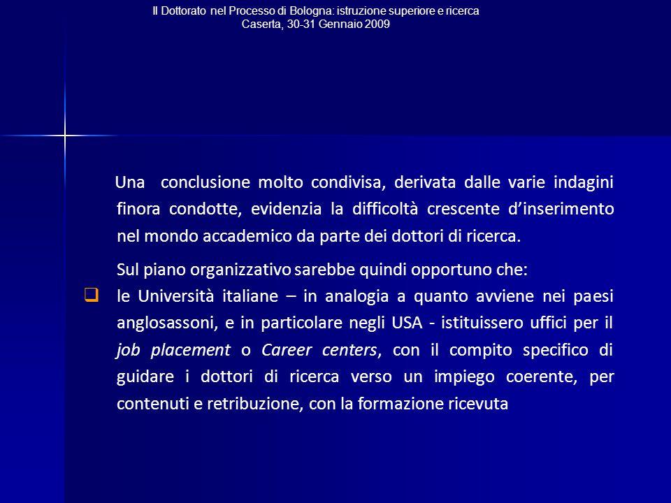 Il Dottorato nel Processo di Bologna: istruzione superiore e ricerca Caserta, 30-31 Gennaio 2009 Una conclusione molto condivisa, derivata dalle varie indagini finora condotte, evidenzia la difficoltà crescente d'inserimento nel mondo accademico da parte dei dottori di ricerca.