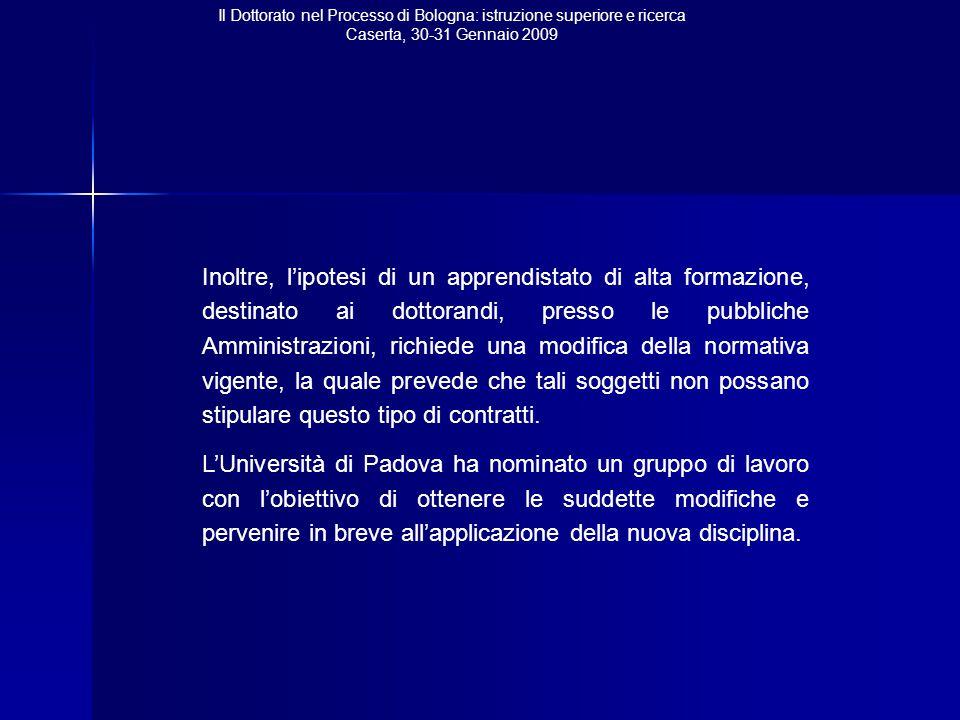 Il Dottorato nel Processo di Bologna: istruzione superiore e ricerca Caserta, 30-31 Gennaio 2009 Inoltre, l'ipotesi di un apprendistato di alta formaz