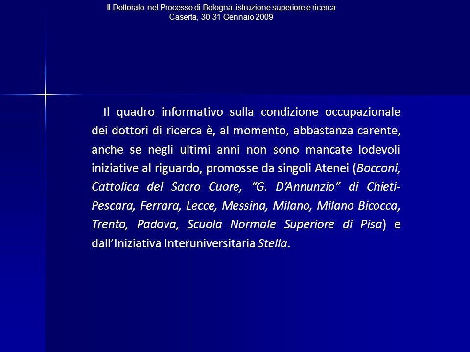 Il Dottorato nel Processo di Bologna: istruzione superiore e ricerca Caserta, 30-31 Gennaio 2009 Il quadro informativo sulla condizione occupazionale