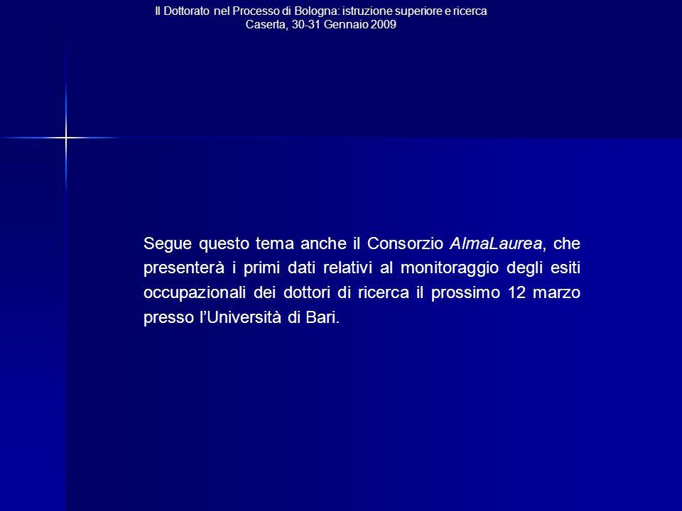 Il Dottorato nel Processo di Bologna: istruzione superiore e ricerca Caserta, 30-31 Gennaio 2009 Segue questo tema anche il Consorzio AlmaLaurea, che