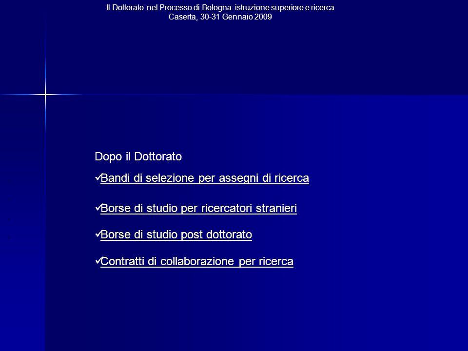 Il Dottorato nel Processo di Bologna: istruzione superiore e ricerca Caserta, 30-31 Gennaio 2009 Dopo il Dottorato Bandi di selezione per assegni di ricerca Borse di studio per ricercatori stranieri Borse di studio post dottorato Contratti di collaborazione per ricerca
