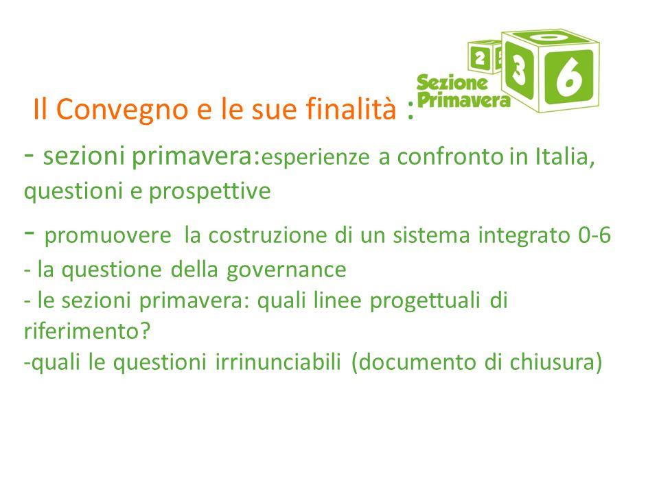 Il Convegno e le sue finalità : - sezioni primavera: esperienze a confronto in Italia, questioni e prospettive - promuovere la costruzione di un sistema integrato 0-6 - la questione della governance - le sezioni primavera: quali linee progettuali di riferimento.
