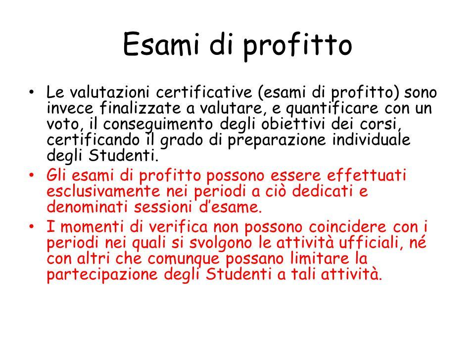 Esami di profitto Le valutazioni certificative (esami di profitto) sono invece finalizzate a valutare, e quantificare con un voto, il conseguimento degli obiettivi dei corsi, certificando il grado di preparazione individuale degli Studenti.