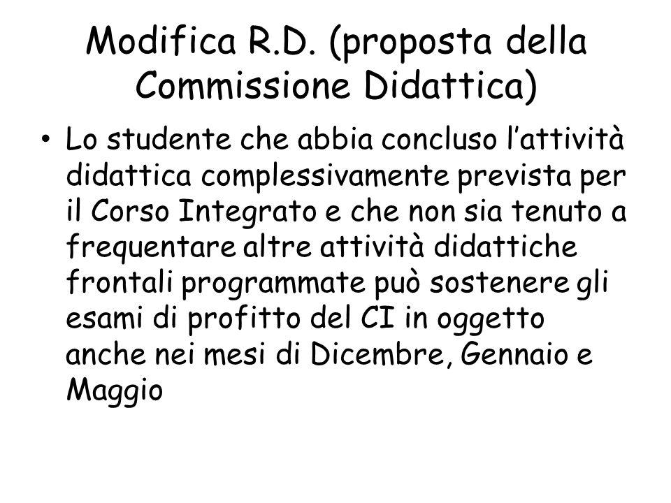 Modifica R.D. (proposta della Commissione Didattica) Lo studente che abbia concluso l'attività didattica complessivamente prevista per il Corso Integr