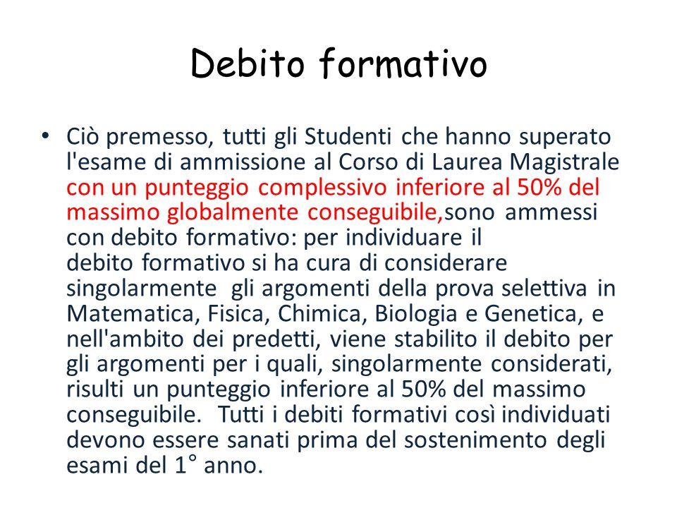 Debito formativo Ciò premesso, tutti gli Studenti che hanno superato l'esame di ammissione al Corso di Laurea Magistrale con un punteggio complessivo